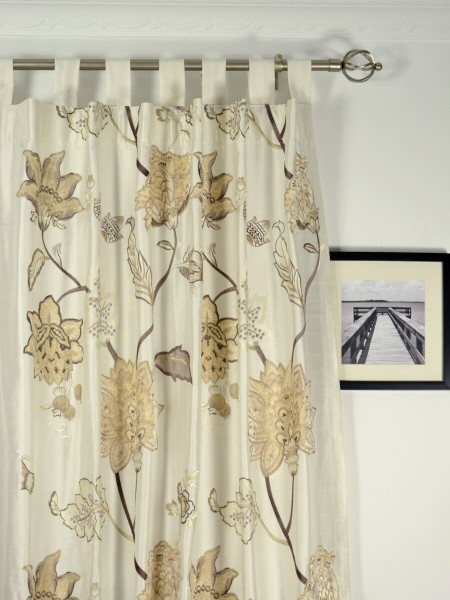 Rainbow Embroidered and Velvet Appliqué Tab Top Dupioni Silk Curtains Heading Style