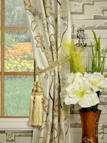 Rainbow Embroidered and Velvet Appliqué Grommet Dupioni Silk Curtains Tassel Tiebacks