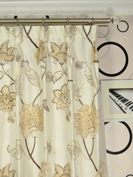 Rainbow Embroidered and Velvet Appliqué Dupioni Custom Made Curtains (Heading: Goblet Pleat)