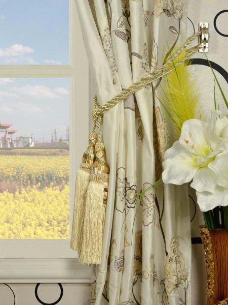 Rainbow Embroidered and Velvet Appliqué Goblet Dupioni Silk Curtains Tassel Tiebacks