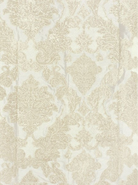 Rainbow Embroidered Damask Dupioni Custom Made Curtains (Color: Ivory)