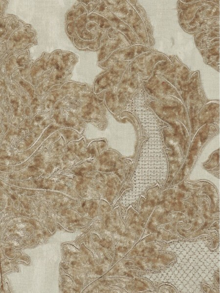 Rainbow Embroidered Damask Dupioni Custom Made Curtains (Color: Beige)