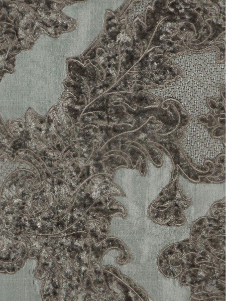 Rainbow Embroidered Damask Dupioni Custom Made Curtains (Color: Cadet grey)