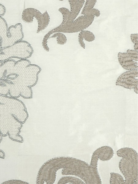 Rainbow Embroidered Classic Damask Dupioni Custom Made Curtains (Color: Ivory)