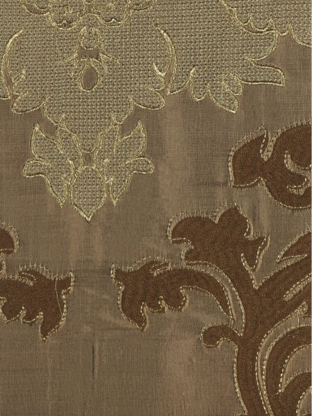 Rainbow Embroidered Classic Damask Dupioni Custom Made Curtains (Color: Brown)