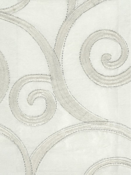 Rainbow Embroidered Scroll Tab Top Dupioni Silk Curtains (Color: Ivory)
