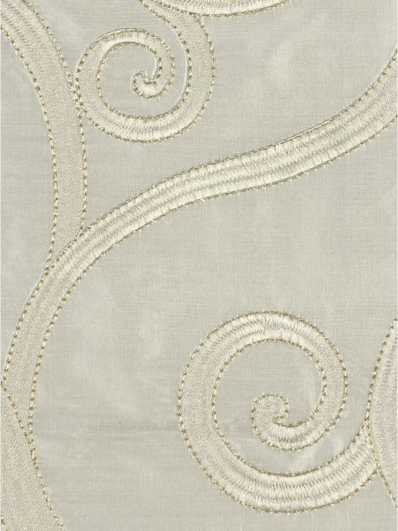 Rainbow Embroidered Scroll Tab Top Dupioni Silk Curtains (Color: Beige)