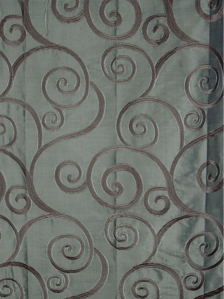 Rainbow Embroidered Scroll Tab Top Dupioni Silk Curtains (Color: Antique brass)