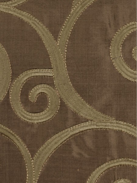 Rainbow Embroidered Scroll Tab Top Dupioni Silk Curtains (Color: Brown)