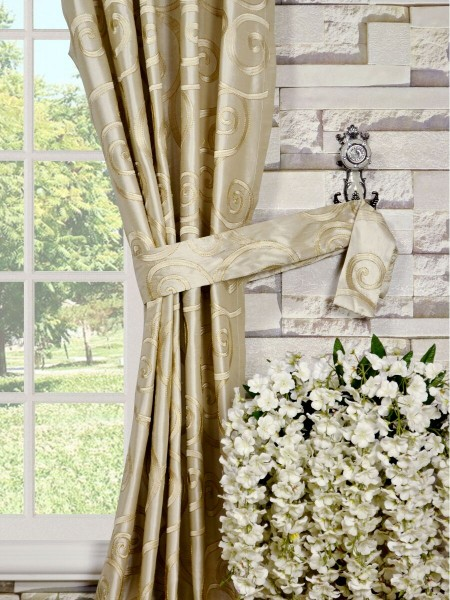 Rainbow Embroidered Scroll Versatile Pleat Dupioni Silk Curtains Decorative Tiebacks