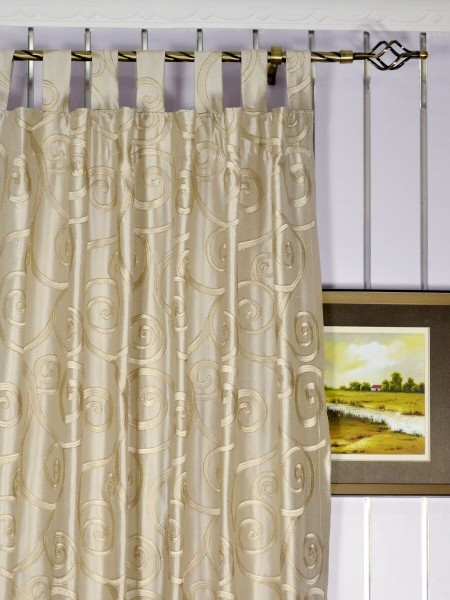 Rainbow Embroidered Scroll Tab Top Dupioni Silk Curtains Heading Style