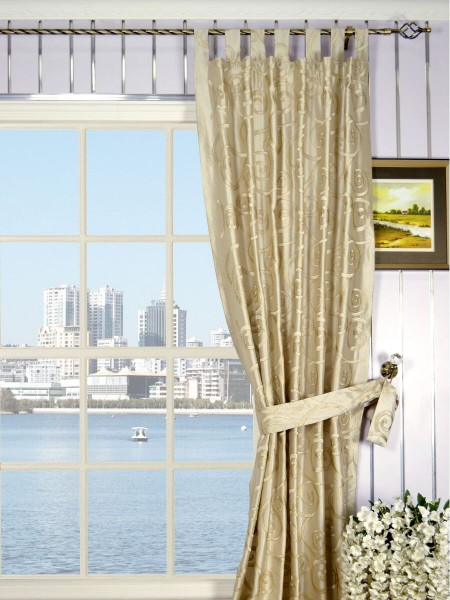 Rainbow Embroidered Scroll Tab Top Dupioni Silk Curtains