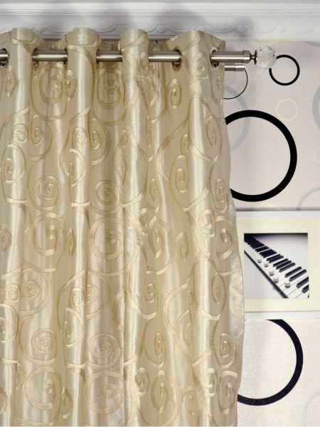Rainbow Embroidered Scroll Dupioni Silk Custom Made Curtains (Heading: Grommet)