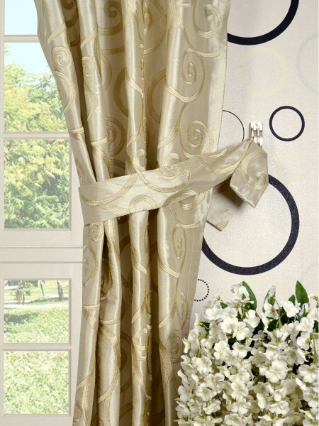 Rainbow Embroidered Scroll Grommet Dupioni Silk Curtains Decorative Tiebacks
