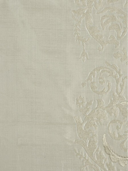 Rainbow Embroidered Classic Damask Grommet Dupioni Silk Curtains (Color: Beige)