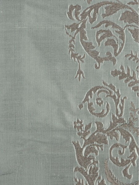 Rainbow Embroidered Classic Damask Grommet Dupioni Silk Curtains (Color: Cadet grey)