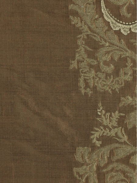 Rainbow Embroidered Classic Damask Grommet Dupioni Silk Curtains (Color: Brown)
