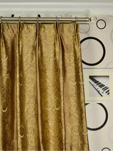Rainbow Embroidered Classic Damask Dupioni Silk Custom Made Curtains (Heading: Versatile Pleat)