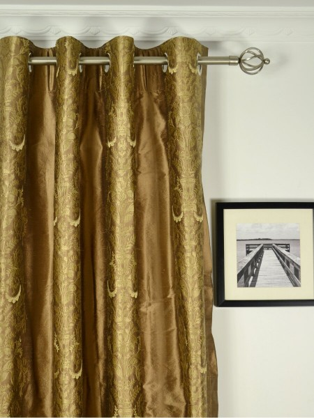 Rainbow Embroidered Classic Damask Grommet Dupioni Silk Curtains Heading Style