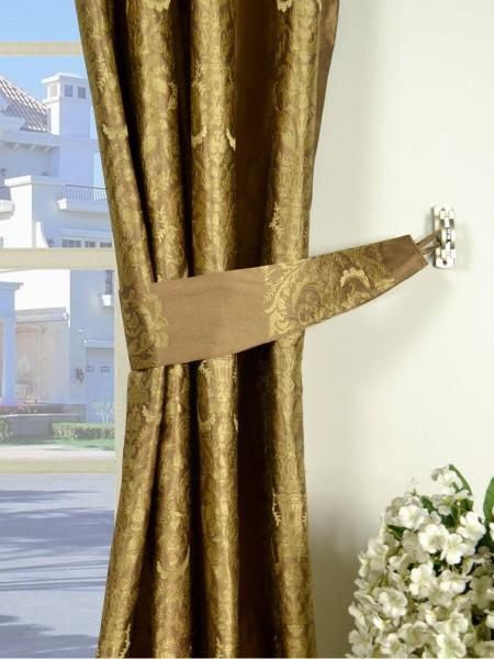 Rainbow Embroidered Classic Damask Grommet Dupioni Silk Curtains Decorative Tiebacks
