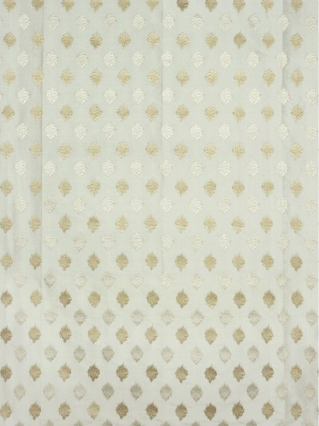 Rainbow Embroidered Lozenge-shaped Dupioni Silk Fabric Sample (Color: Beige)