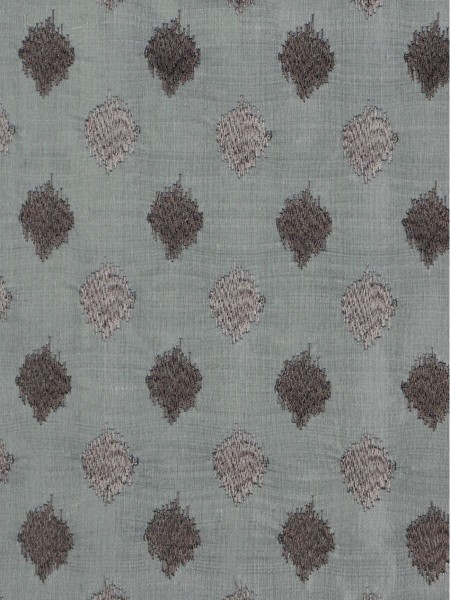 Rainbow Embroidered Lozenge-shaped Dupioni Silk Fabric Sample (Color: Cadet grey)