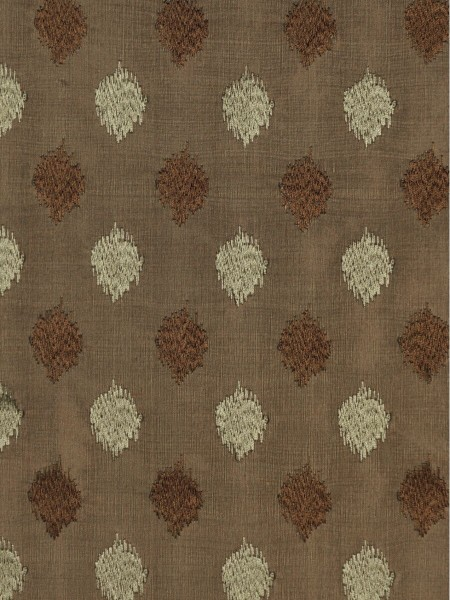 Rainbow Embroidered Lozenge-shaped Dupioni Silk Fabric Sample (Color: Brown)