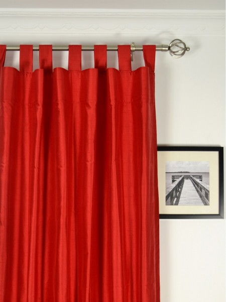 Oasis Solid-color Tab Top Dupioni Silk Curtains Heading Style