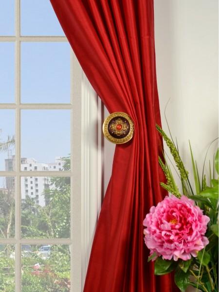 Oasis Solid-color Tab Top Dupioni Silk Curtains Holdbacks