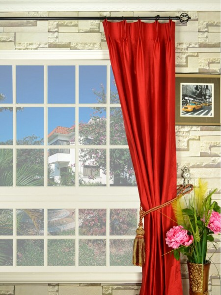 Oasis Solid-color Double Pinch Pleat Dupioni Curtains