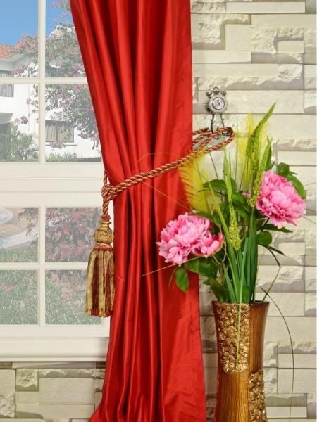 Oasis Solid-color Double Pinch Pleat Dupioni Curtains Tassel Tiebacks