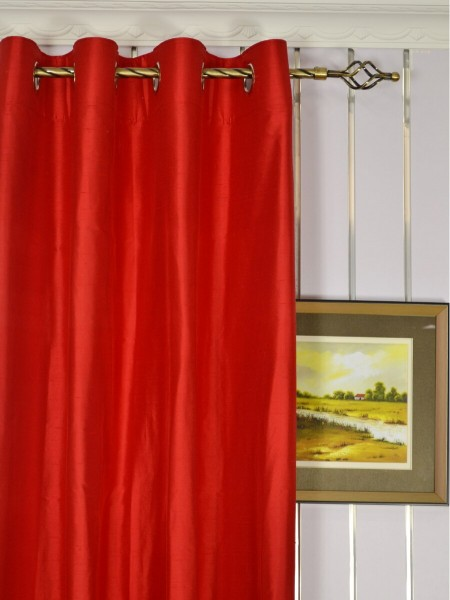 Oasis Solid-color Grommet Dupioni Silk Curtains Heading Style