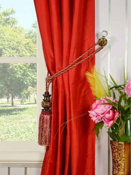 Oasis Solid-color Grommet Dupioni Silk Curtains Tassel Tiebacks