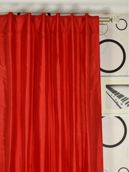 Oasis Solid Red Dupioni Silk Custom Made Curtains (Heading: Back Tab)
