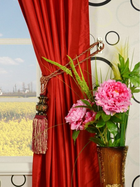 Oasis Solid-color Back Tab Dupioni Curtains Tassel Tiebacks