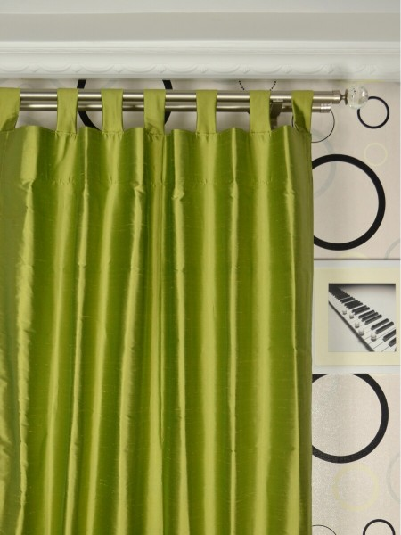 Oasis Crisp Plain Tab Top Dupioni Silk Curtains Heading Style