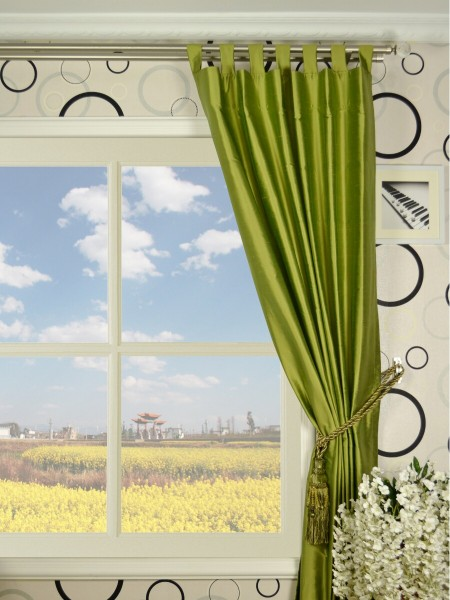 Oasis Crisp Plain Tab Top Dupioni Silk Curtains