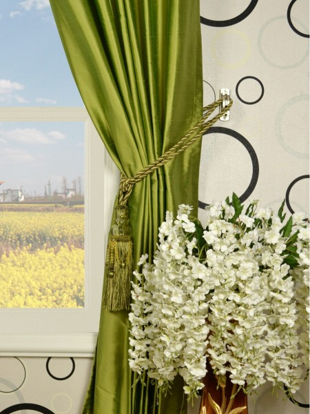 Oasis Crisp Plain Tab Top Dupioni Silk Curtains Tassel Tiebacks