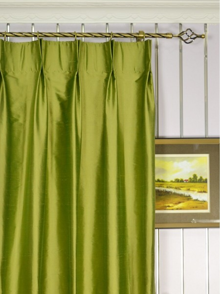 Oasis Solid Green Dupioni Silk Custom Made Curtains (Heading: Double Pinch Pleat)