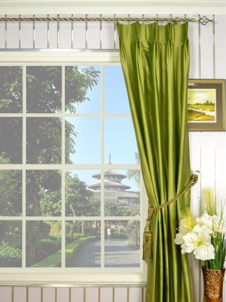 Oasis Crisp Plain Double Pinch Pleat Dupioni Silk Curtains