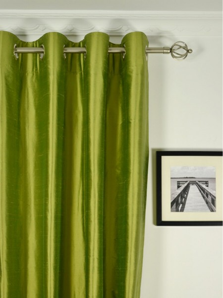 Oasis Crisp Plain Grommet Dupioni Silk Curtains Heading Style