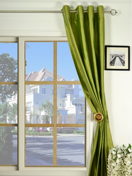 Oasis Crisp Plain Grommet Dupioni Silk Curtains