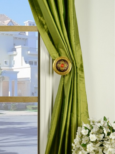 Oasis Crisp Plain Grommet Dupioni Silk Curtains Holdbacks