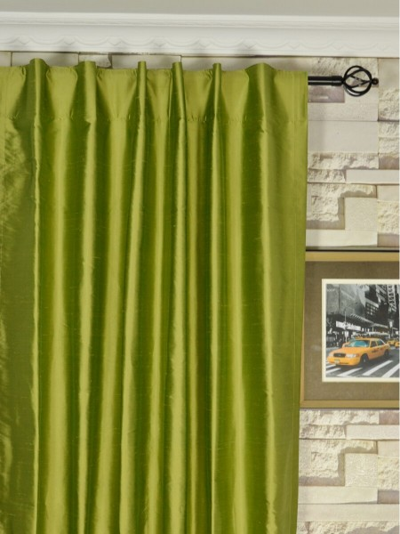 Oasis Crisp Plain Back Tab Dupioni Silk Curtains Heading Style