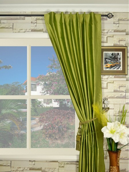 Oasis Crisp Plain Back Tab Dupioni Silk Curtains