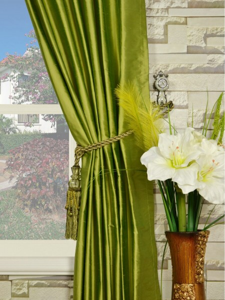 Oasis Crisp Plain Back Tab Dupioni Silk Curtains Tassel Tiebacks