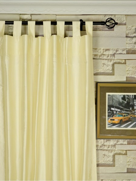Oasis Solid Natural Dupioni Silk Custom Made Curtains (Heading: Tab Top)