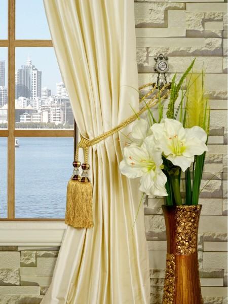 Oasis Traditional Solid Tab Top Dupioni Silk Curtains Tassel Tiebacks