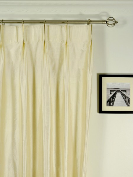 Oasis Solid Natural Dupioni Silk Custom Made Curtains (Heading: Double Pinch Pleat)