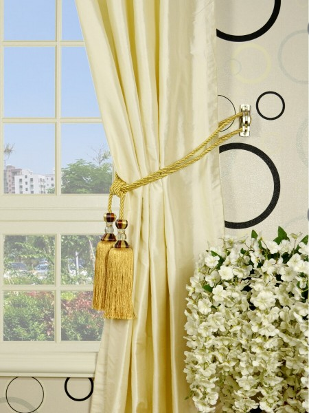 Oasis Traditional Solid Grommet 100% Dupioni Silk Curtains Tassel Tiebacks
